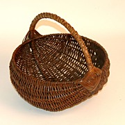 Antique Early Melon Basket with Rare Handle Detail.