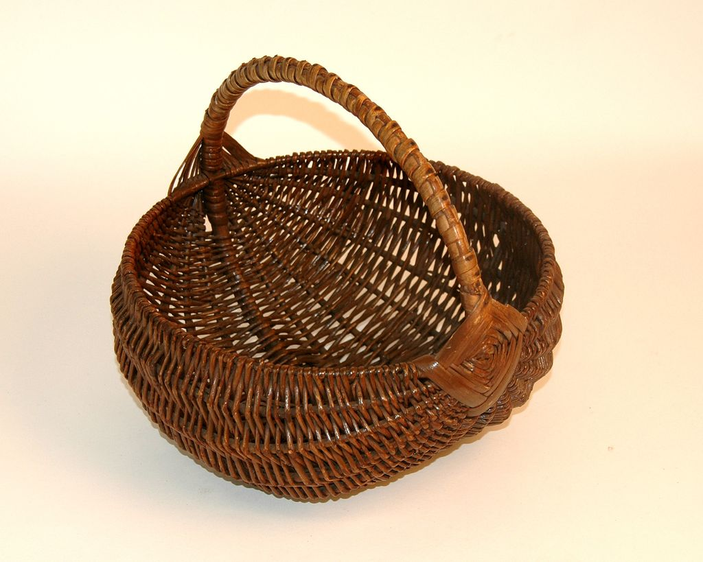 Antique Early Melon Basket With Rare Handle Detail From