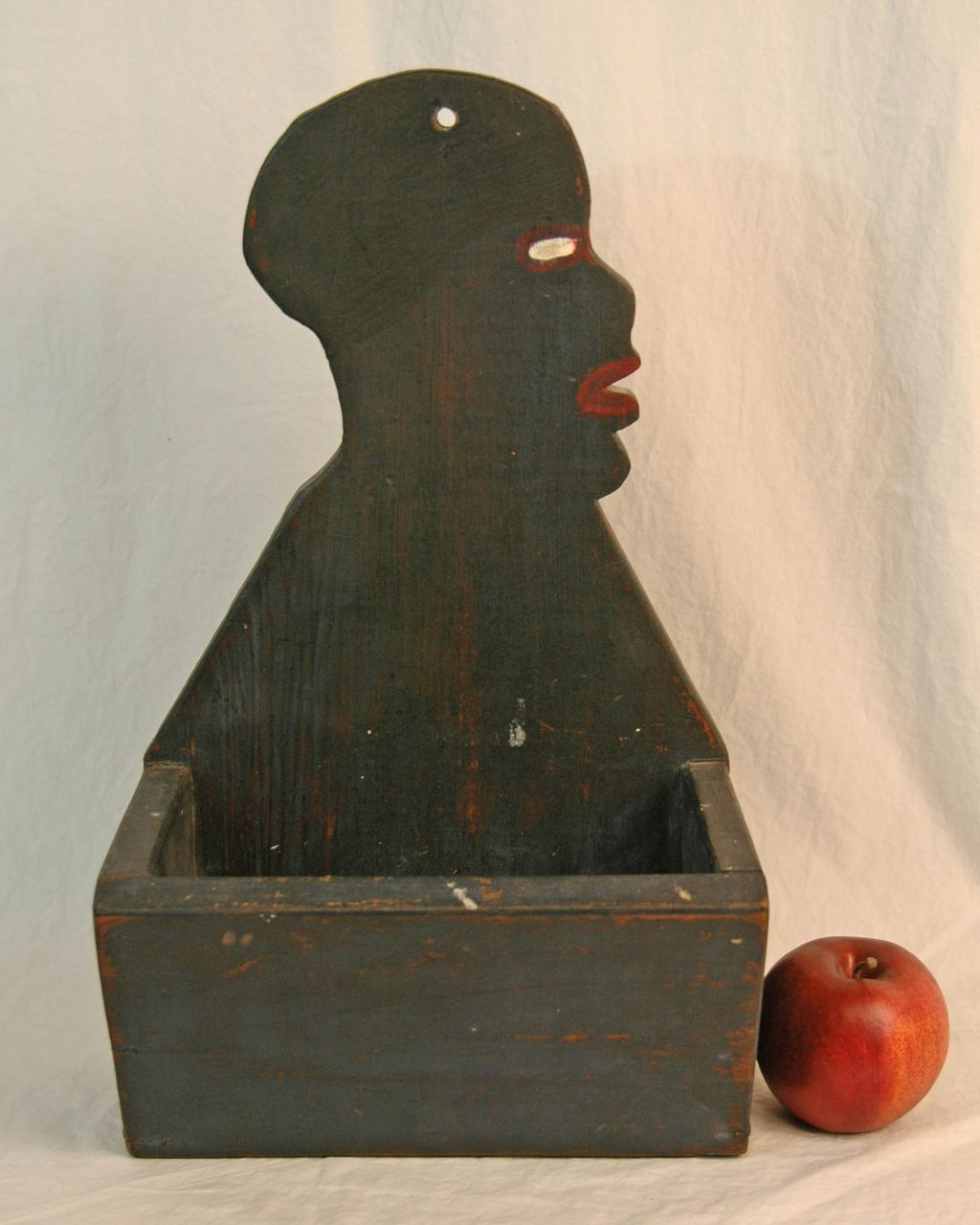 Black Americana Painted Wall Box with a Head Profile
