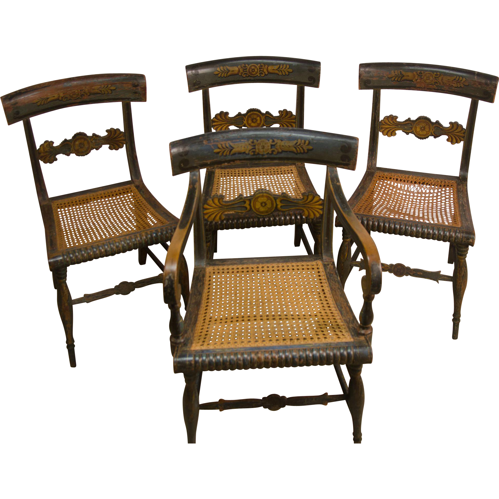 Set of Four Antique American Painted Fancy Chairs from asgoodasold ...