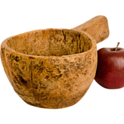 Hand Hewn Burl Bowl with Stout Handle