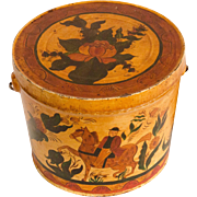 Tole Painted Tin Pail with Bail Handle and Lid
