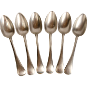 Six Thomas Yates Pewter Tablespoons