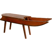 Red Painted Antique Sled Table