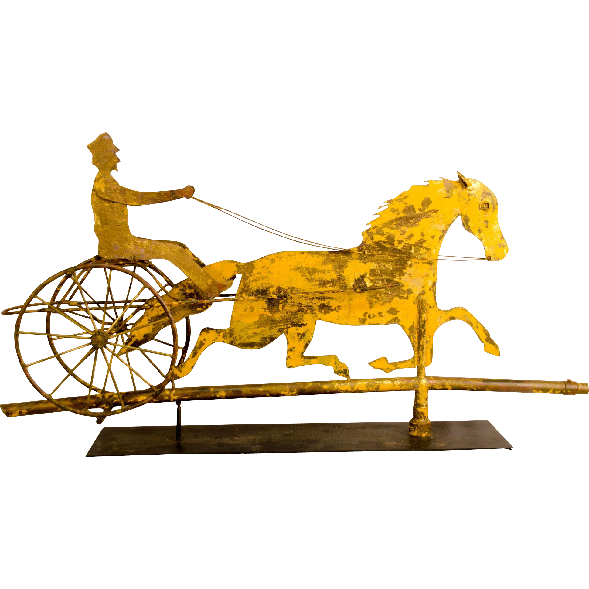 Sheet Copper Horse Sulky And Driver Weathervane From