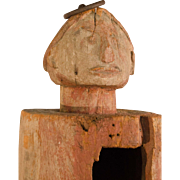 Wooden Hitching Post with Figural Carving