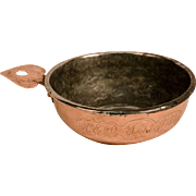Copper Porringer dated 1849