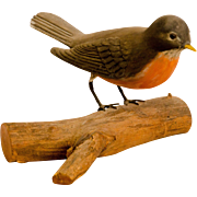 Carved Robin on Natural Wooden Base