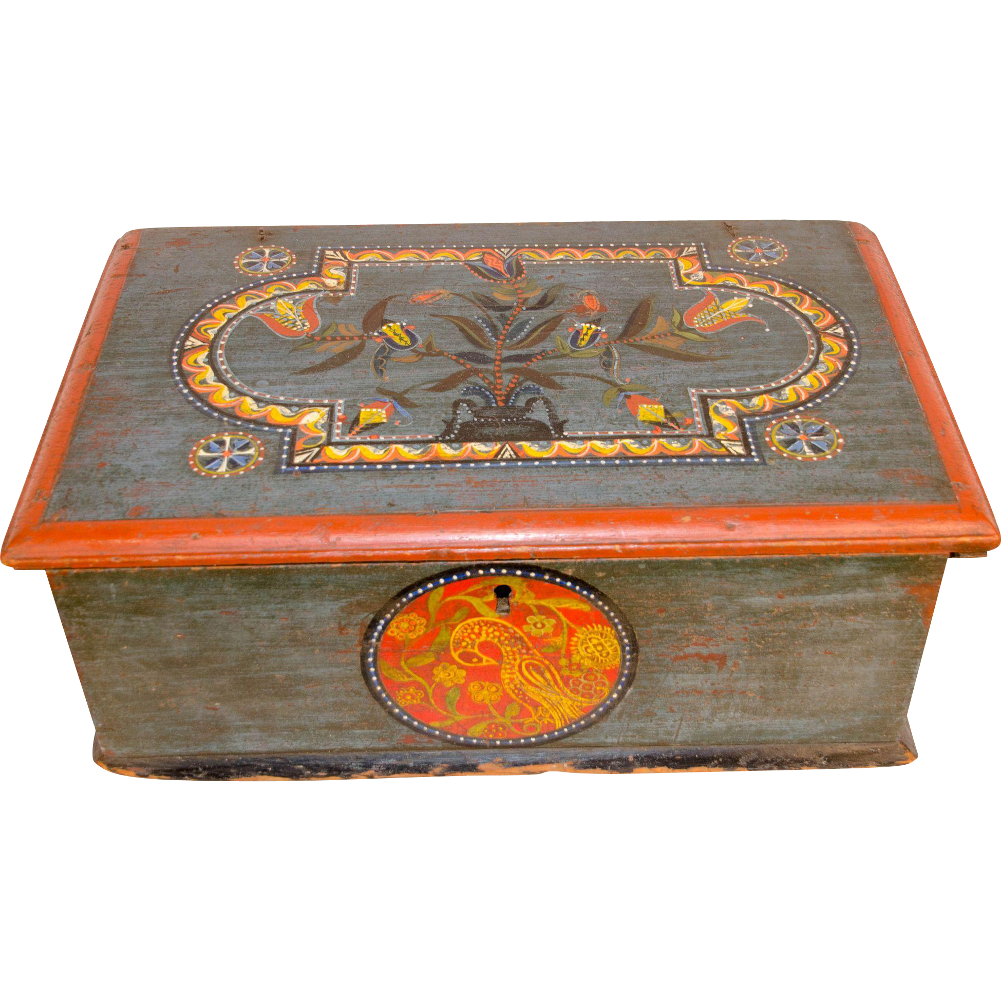 18th century painted and decorated bible box from for Decorated bible
