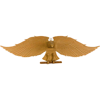 Carved and Painted Spread-Wing Eagle Wall Plaque