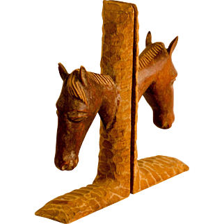 Folk Carved Horse Head Bookends