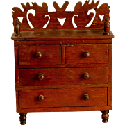 Miniature Dresser with Fretwork Back Splash