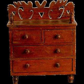Miniature Dresser with Fretwork Back Splash