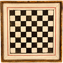 19th Century Checkerboard in Black and White Paint