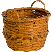 Diminutive Splint Basket with Gold Braid Trim
