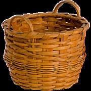 Diminutive Splint Basket with Gold Braid Trim