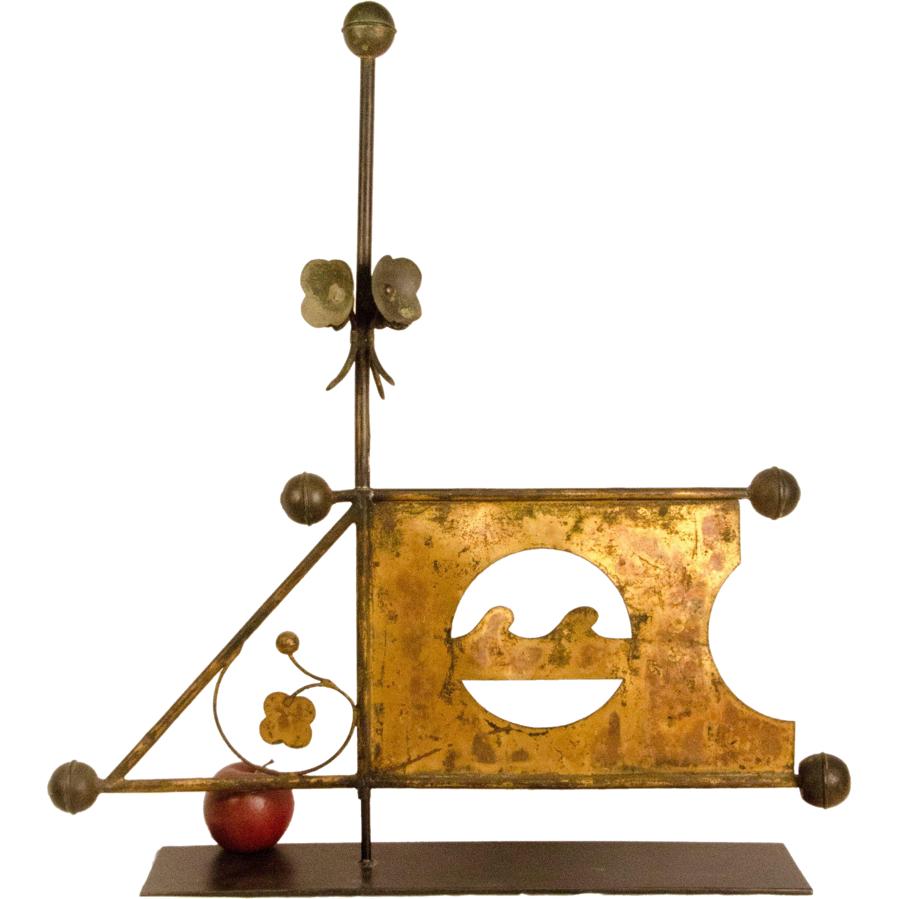 Copper Banner Weathervane With Guilded Sail