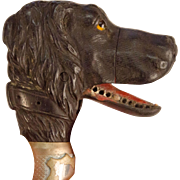 Novelty Cane with Carved, Articulated Dog's Head Knob