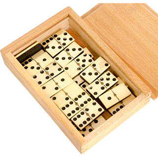 Set of 19th Century Bone and Ebony Dominoes