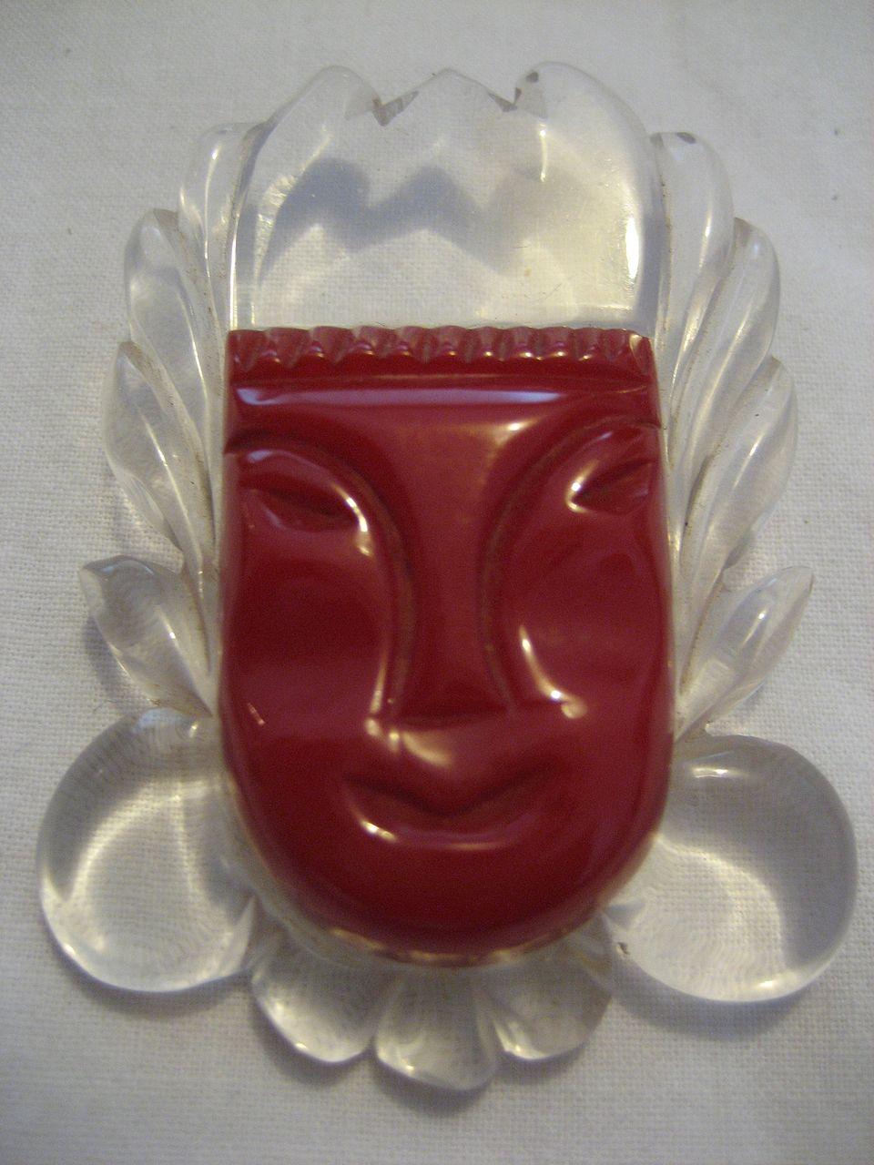 Bakelite Mask FIgural Carved Pin