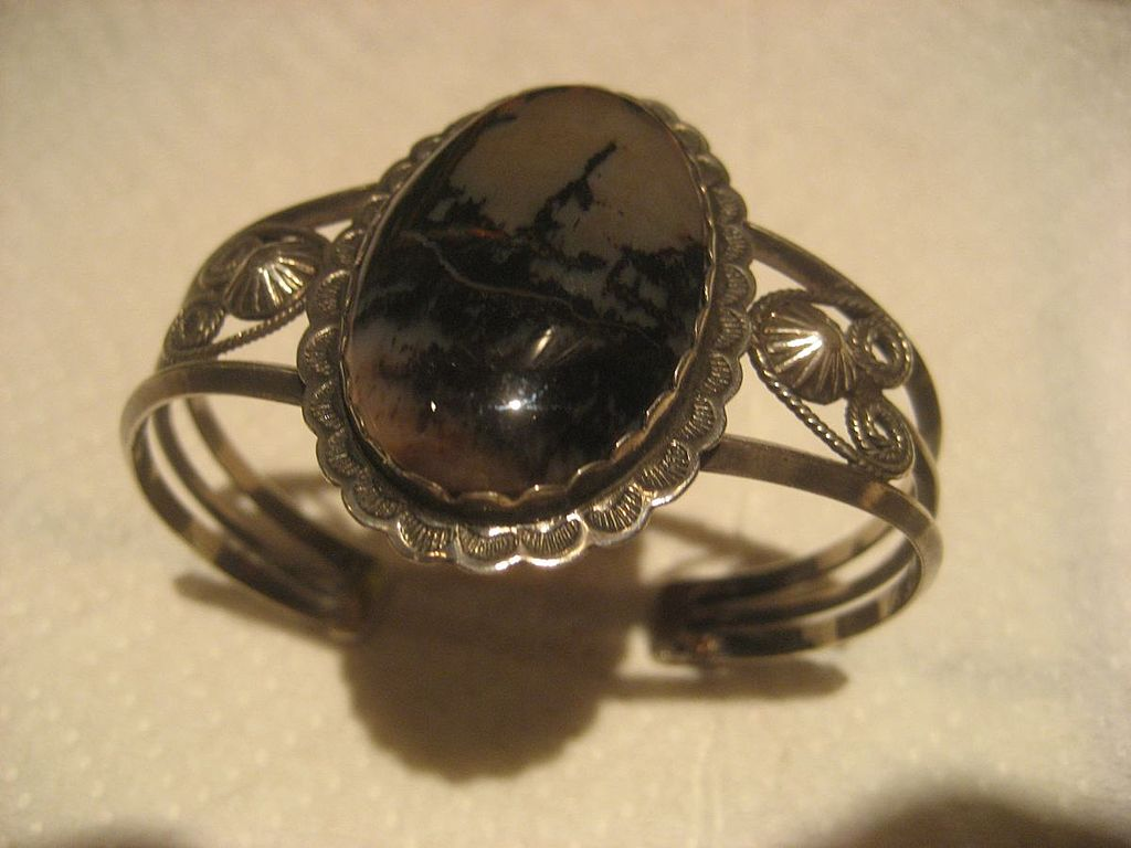 Petrified Wood & Sterling Cuff Vintage Bracelet