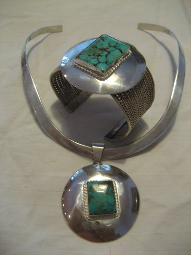 Sterling & Turquoise Demarco Collar & Matching Vintage Cuff