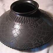 Mata Ortiz Black Incised Pottery Signed Miguel Bugarini