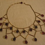 Cherry Amber Bakelite Bib Necklace