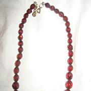 Cherry Amber Bakelite Faceted Vintage Necklace
