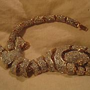 Leopard Rhinestone Hinged Vintage Bracelet