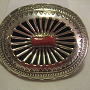 Sterling Silver & Coral Vintage Belt Buckle by B. Carson