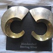Taxco Sterling Silver Geometric Two Tone Earrings