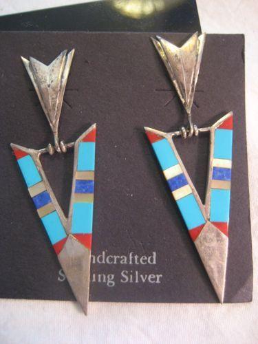 Sterling & Inlay Arrow Vintage  Earrings