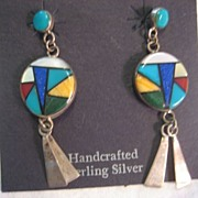Sterling Silver & Inlay Handcrafted Earrings