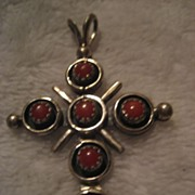 Coral & Sterling Silver Vintage Cross