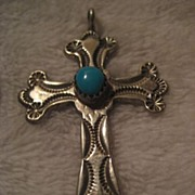 Sterling Silver & Turquoise Stamped Vintage Cross