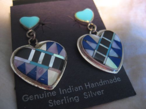Sterling Silver & Inlay Heart Earrings
