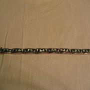 Sterling Silver & Inlay Turquoise Vintage Zuni Link Bracelet
