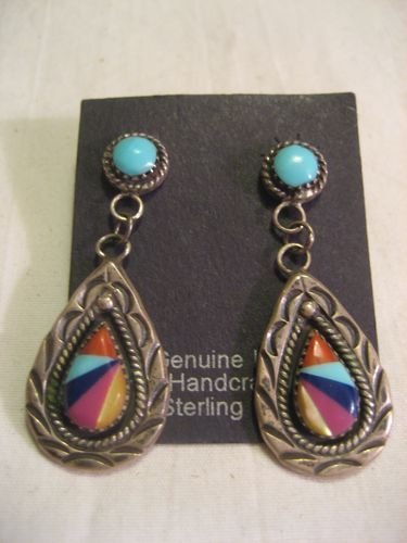 Sterling Silver & Inlay Zuni Earrings