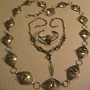Sterling Silver Storyteller Concho & Necklace & Bracelet