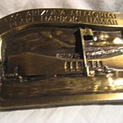 Pearl Harbor USS Arizona Vintage Brass Belt Buckle