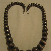 Sterling Silver Stamped Beaded Vintage Necklace