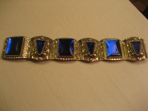 Sterling Silver & Carved Blue Glass Vintage Bracelet