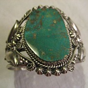 Sterling Silver & Fox Turquoise Signed Bracelet