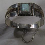 Sterling Silver & Fire Opal Hinged Bracelet
