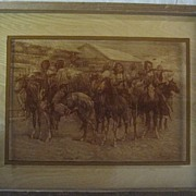 Remington Indian Party Photography on Framed Glass