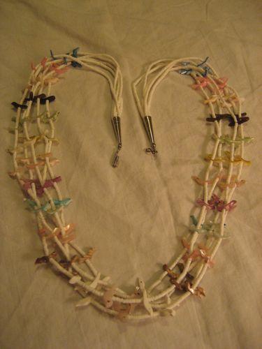 Heishi & Carved Bird Fetish Five Strand Necklace