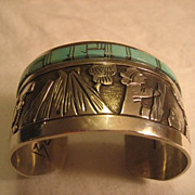 Sterling Silver & Turquoise Inlay Navajo Bracelet