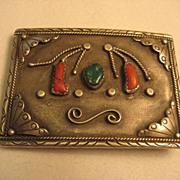 Sterling Silver Coral & Turquoise Vintage Belt Buckle