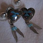 Sterling Silver & Inlay Heart Earrings